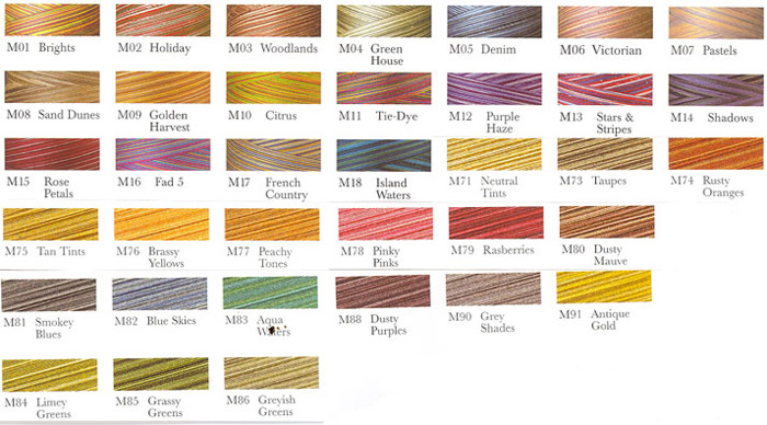 to view the signature variegated color chart click here - Madeira Color Chart